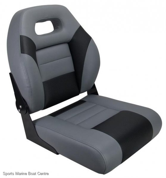 Relaxn Deluxe Sports Fold Down Seat Grey Black Carbon