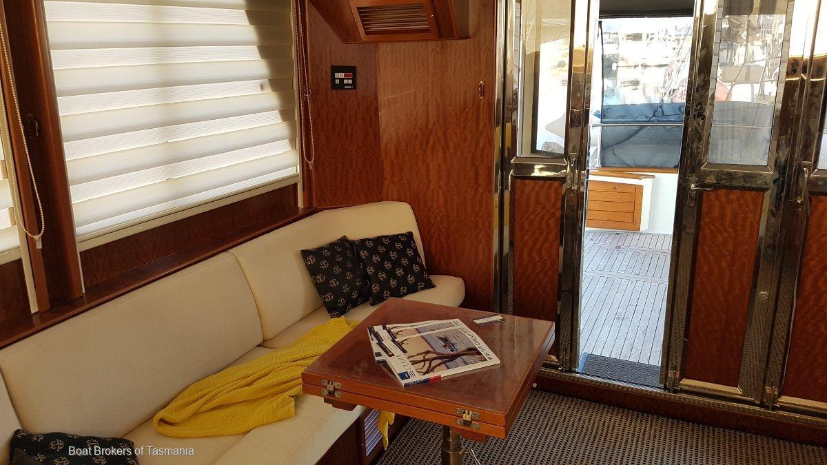 Last Word Alaska 45 Flybridge 3 cabins, 2 heads, Cummins diesels. Boat Brokers of Tasmania