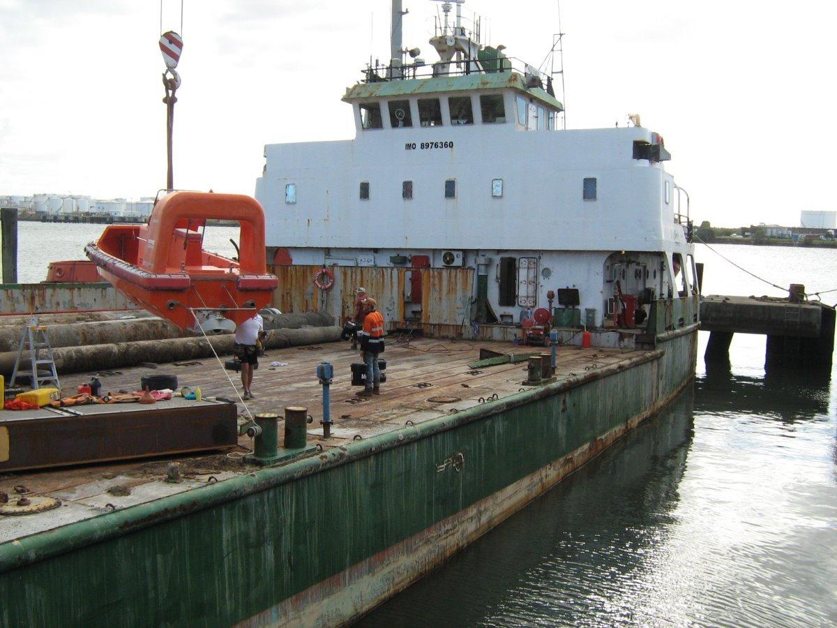 Working cargo ship