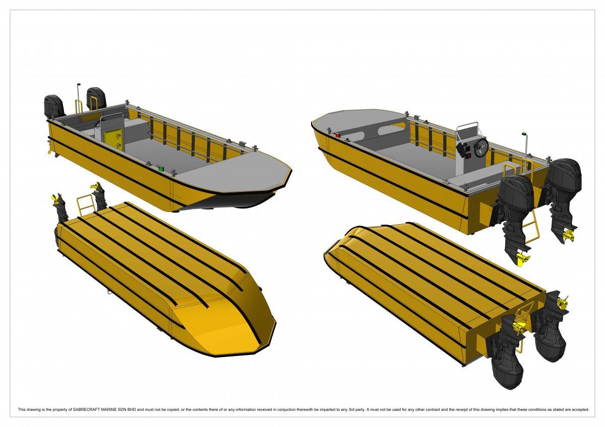 Sabrecraft Marine WBV 5900 V Nose Workboat Work Boat Punt