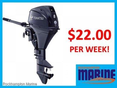 BRAND NEW TOHATSU MFS8 SHORT SHAFT TILLER STEER FOUR STROKE OUTBOARD MOTOR!
