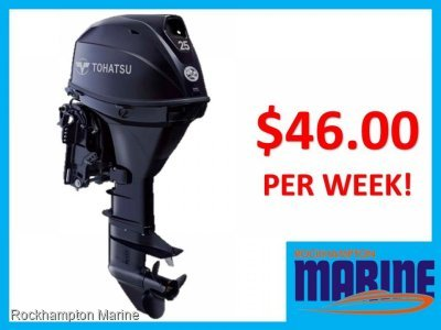 BRAND NEW TOHATSU MFS25 LONG SHAFT ELEC START / TILT FWD STEER OUTBOARD