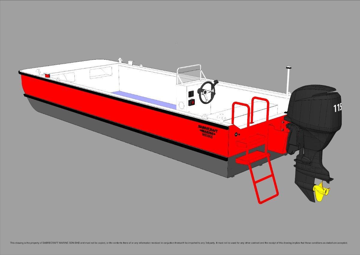 New Sabrecraft Marine WB5900 Workboat Punt Work Boat Barge