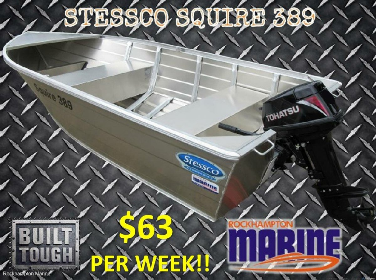 Stessco Squire 389 CAR TOPPER BOAT & MOTOR PACKAGE!