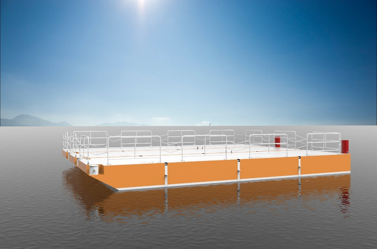Sabrecraft Marine Road Transportable Deck Barge Construction Barge Steel