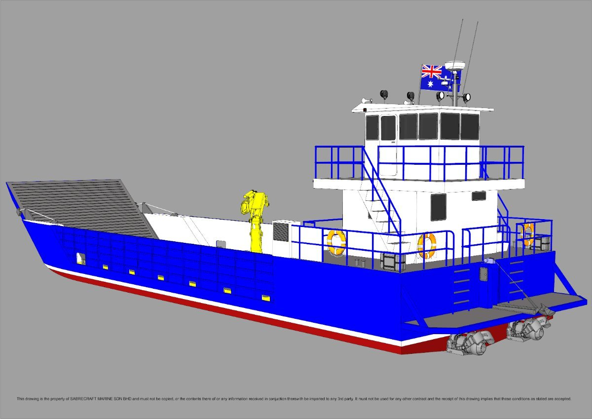 New Sabrecraft Marine Landing Craft Barge 24.00 meter Aluminium with Deck Crane