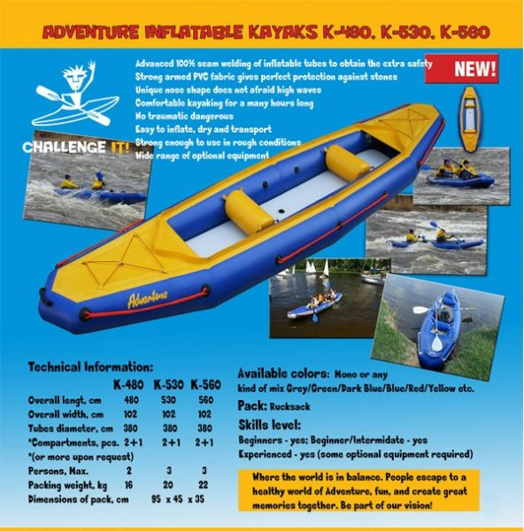 Adventure Inflatables Aurora K530 Kayak - CURRENTLY IN STOCK !!:Catalogue photo