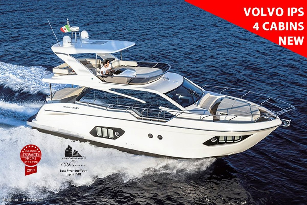 Absolute 50 Fly - NEW WITH 4 CABINS & VOLVO IPS