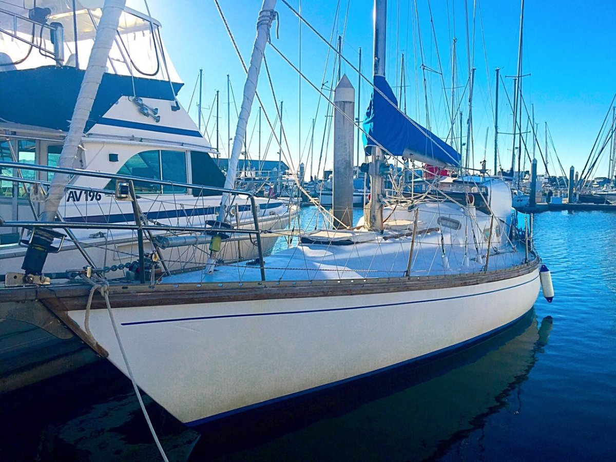 Duncanson 35 cutter sailing yacht with wind vane single-handed