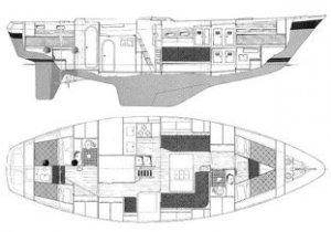 Vintage (Nautor 43 Type) Fiberglass Sailboat