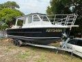 Alufarm Fishing Vessel Enclosed Cabin Hardtop:Sitting on its Trailer