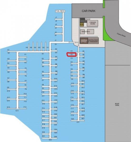 10 METRE BERTH C2 AT KAWANA WATERS MARINA:Single pen close to marina office