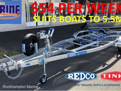REDCO RS560TMO BRAKED GALVANISED TANDEM BOAT TRAILER TO SUIT BOATS TO 5.5M!