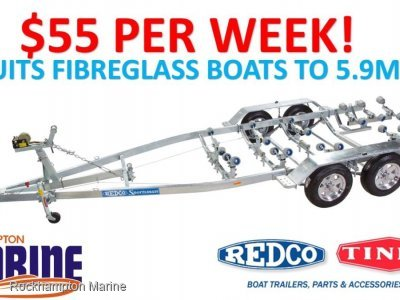 REDCO RE180TMO BRAKED TANDEM GAL TRAILER SUITS FIBREGLASS BOATS TO 5.9M!!
