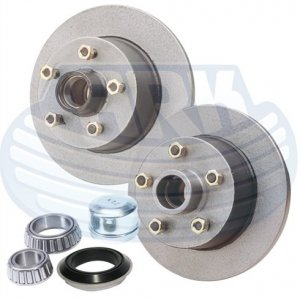 ARK TRAILER DISC HUB KITS - COMPLETE WITH GREASED BEARINGS - $ 95.00