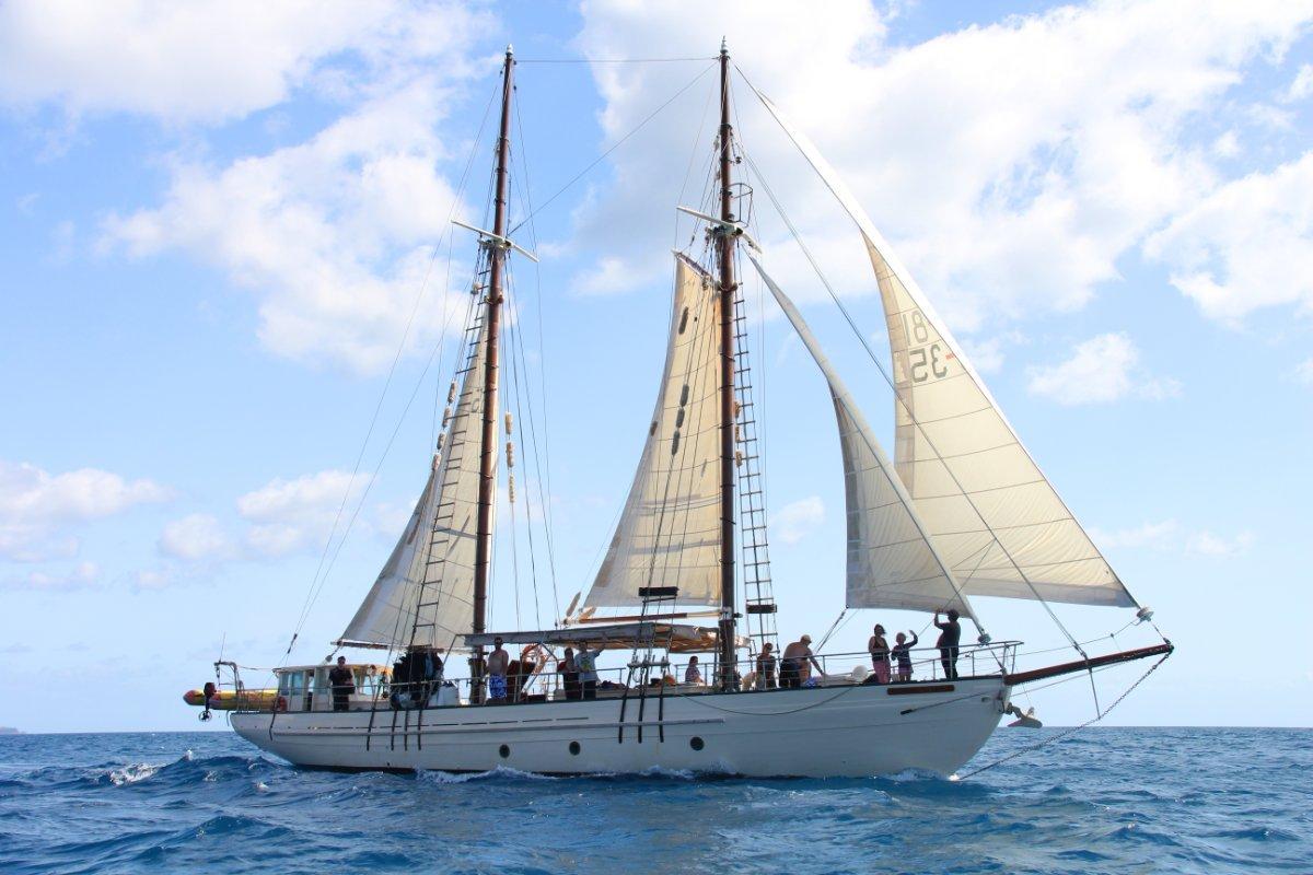 Wilson Bros Topsail Schooner Gaff rigged:Derwent starboard tack
