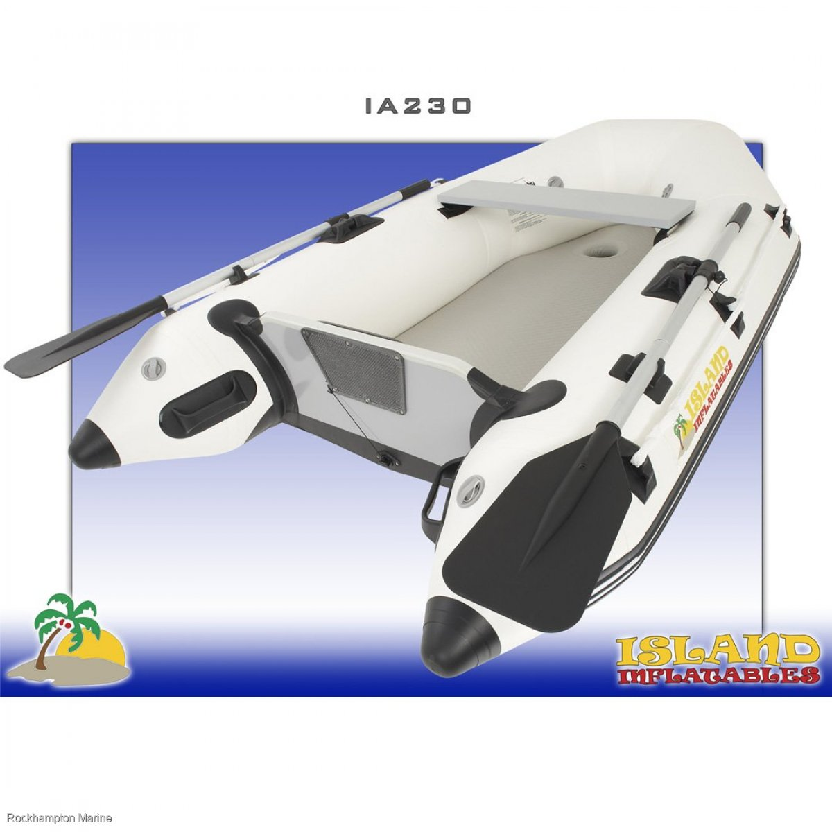 Island Inflatables Island Airdeck 230 Boat + Parsun 2.6HP Four Stroke Outboard Package