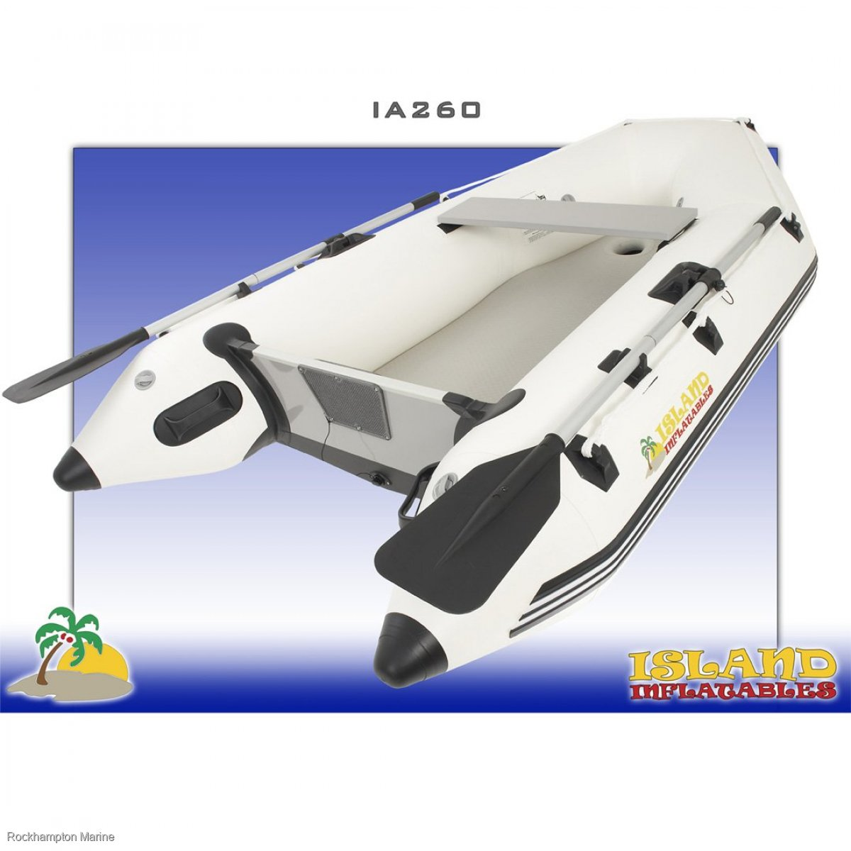 Island Inflatables Island Airdeck 260 Boat + Parsun 2.6HP Four Stroke Outboard Package