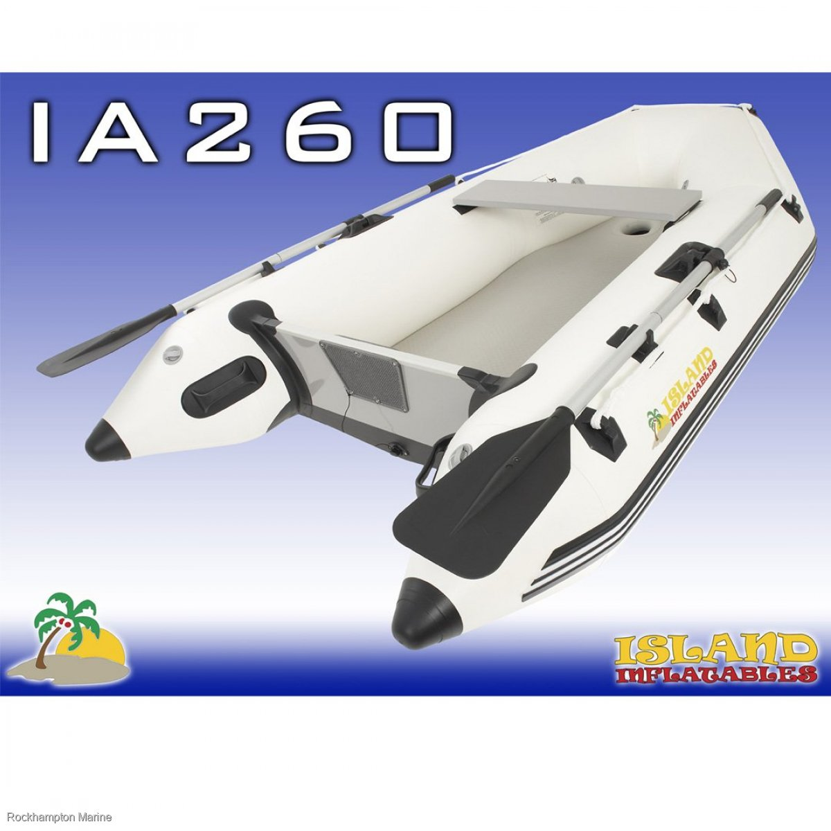 Island Inflatables Island Airdeck 260 Boat + Parsun 4hp Four Stroke Outboard Package