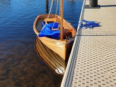 Hand crafted Tasmanian Huon Pine sail boat