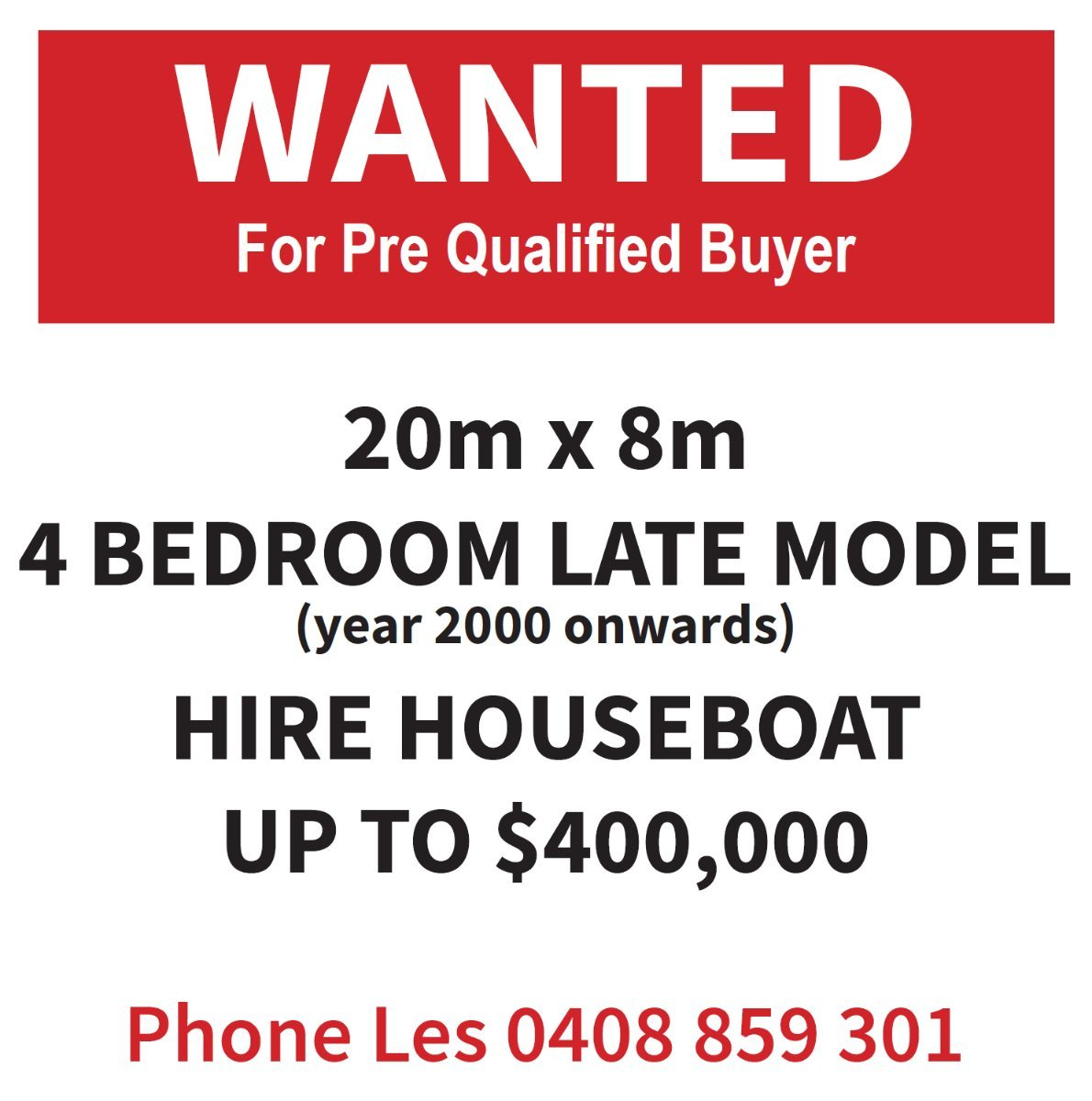 WANTED! HIRE HOUSEBOAT