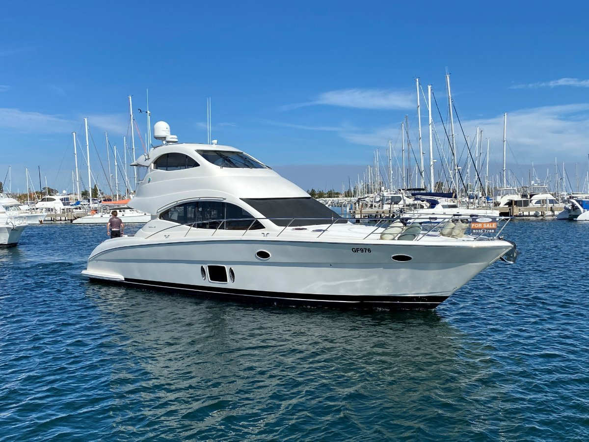 "Maritimo A55 Aegean Flybridge "" 4 CABINS inc FULL BEAM MASTER "":MARITIMO A55 by YACHTS WEST MARINE ph 9335 7788"