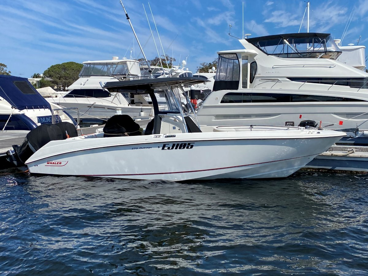 """Boston Whaler 270 Outrage """" WITH TRAILER """":BOSTON 270 by YACHTS WEST MARINE ph 9335 7788"""