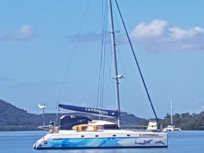 Fountaine Pajot Belize 43 2003 4cabin charter version, with 2 heads removed.