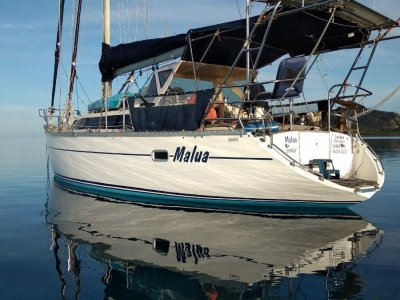 Bluewater Cruising Yachts Adams 42 ft Raised Saloon World Cruiser Setup for short handed sailing