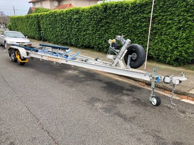 """8.6m Boat Trailer with hydraulic brakes """"Trailer Made Aust. """""""
