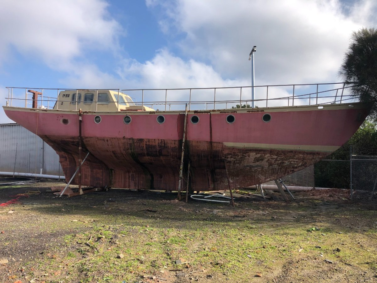 Classic 56ft Round Bilge Steel Ketch:Side View