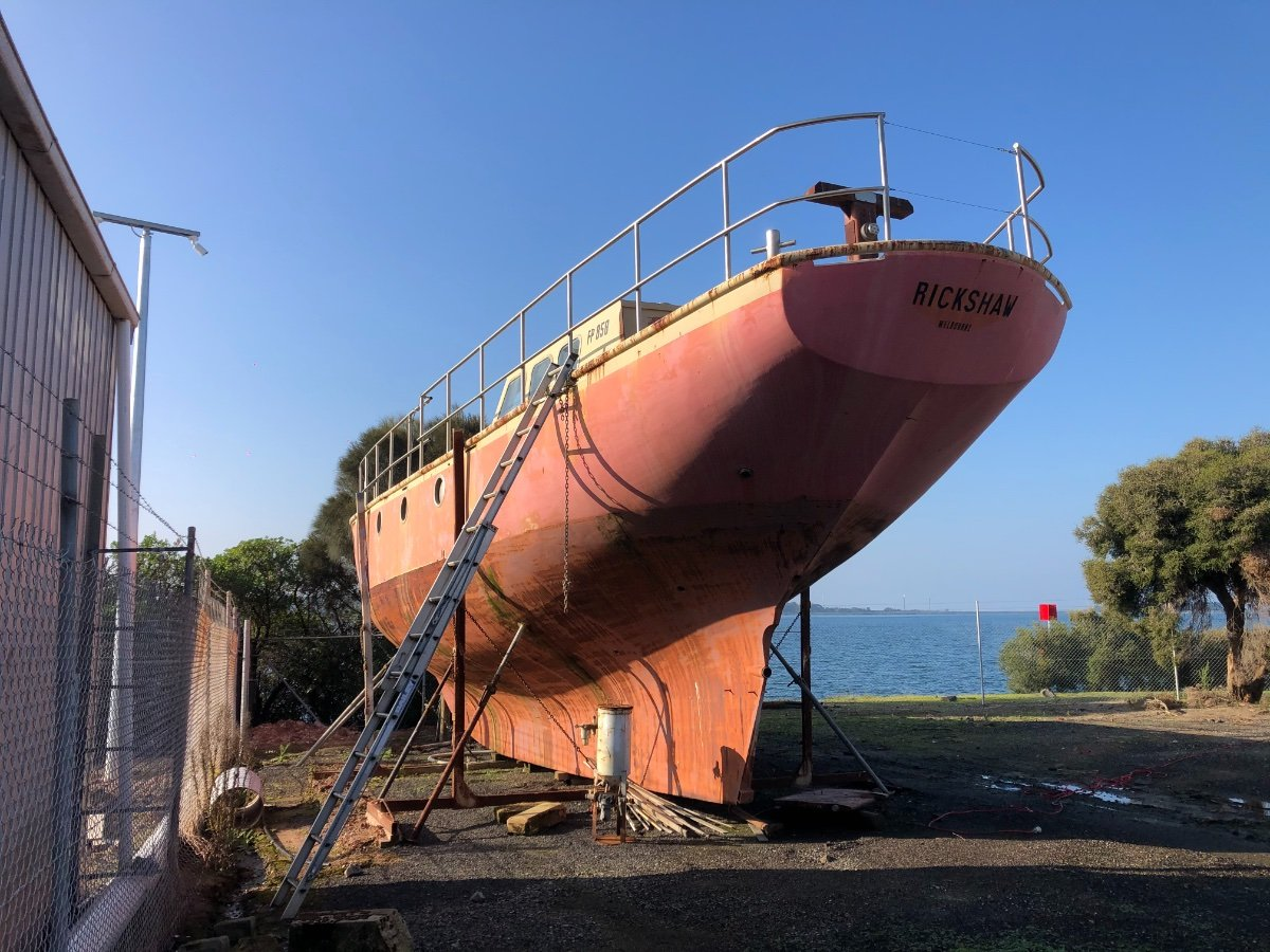 Classic 56ft Round Bilge Steel Ketch:Stern on side view