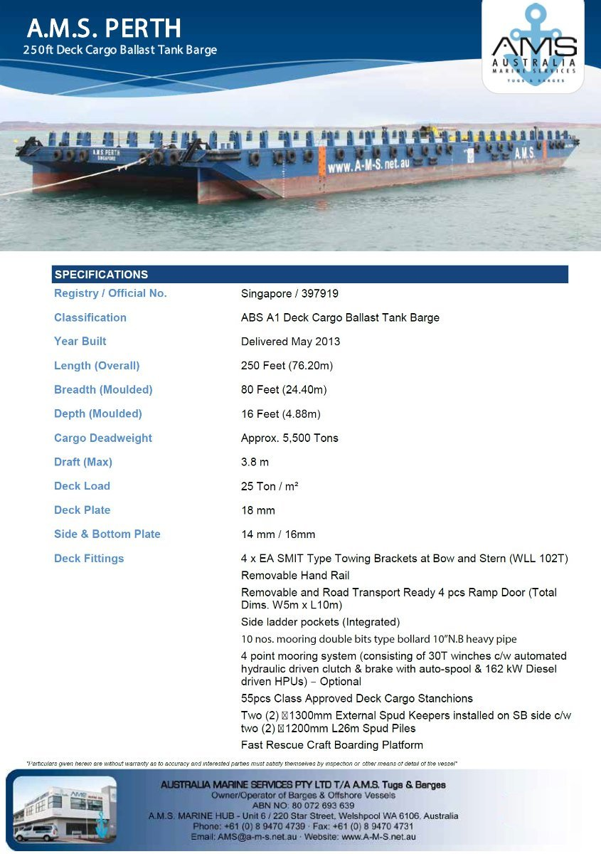 Australia Marine Services AMS Tugs and Barges 250ft Deck Cargo Ballast Tank Barge Custom Deck Cargo Ballast Tank Barge w- 25T/m2