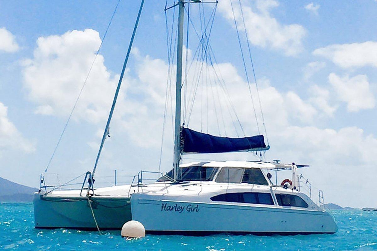 Seawind 1250 Platinum TransPac Whitsunday Bareboat 4yr contract:Harley Girl at anchor
