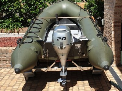 Zodiac MK2 CGR Zodiac inflatable on stainless steel trailer