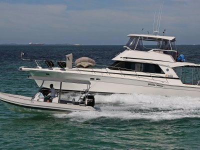 Riviera 48 Flybridge 650 Falcon Rib, Berth, Garage & Rotto Mooring