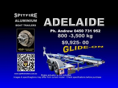 850 - 3.5 Ton Spitfire Anodse Aluminium 316 Stainless Steel Boat trailer