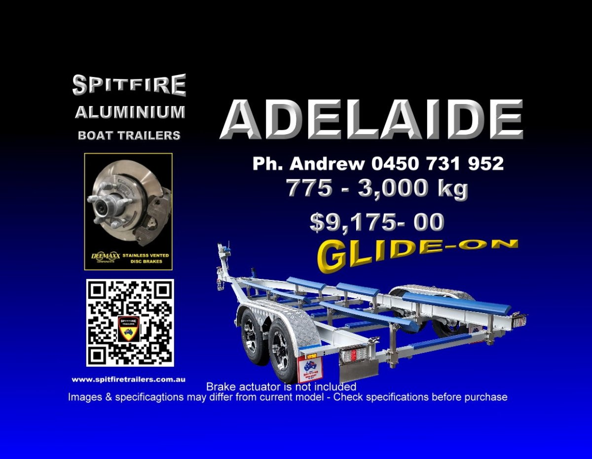 Spitfire's 775-3 Ton Anodised Aluminium - 316 Stainless boat trailer.
