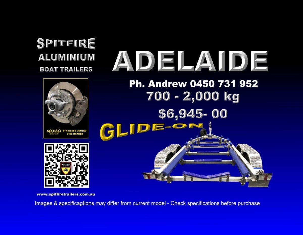 Spitfire 700-2,000kg GLIDE-ON Series Aluminium & 316 Stainless Boat Trailer