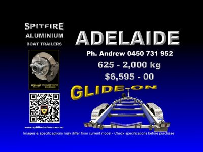 Spitfire 625-2,000kg GLIDE-ON Series Aluminium & 316 Stainless Boat Trailer