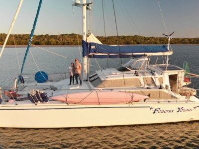 Perry 43 Sailing Catamaran Raised Helm station