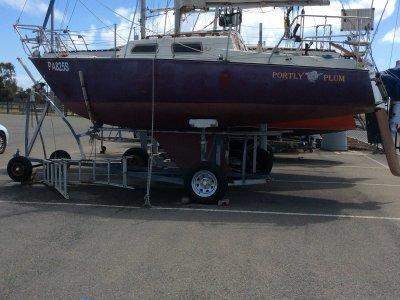 Austral 20 keel yacht on jinker