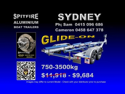 Spitfire 750-3.5 Ton Anodised Aluminium 316 stainless Steel Boat Trailer