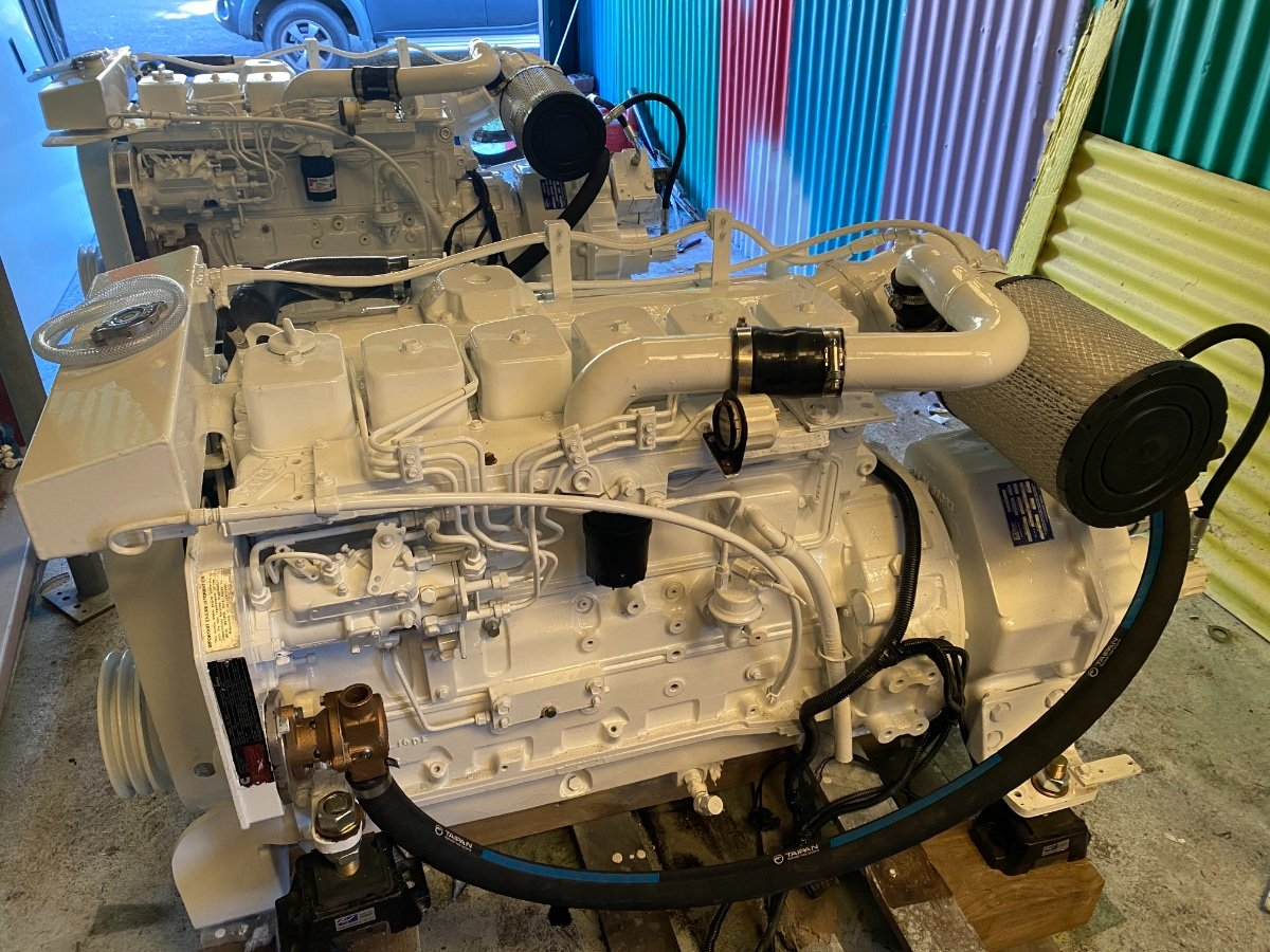 A pair of 2004 Cummins 210hp 6BT, ZF gearboxes