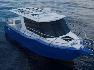 Alure Craft Cabin Cruiser Aft bulkhead window opens up to access aft deck.
