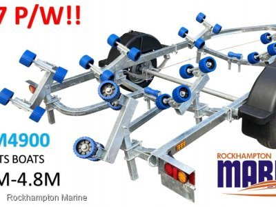 RM BOAT TRAILERS 4900 UN-BRAKED ROLLERED BOAT TRAILER SUITS BOATS 3.9M-4.8M