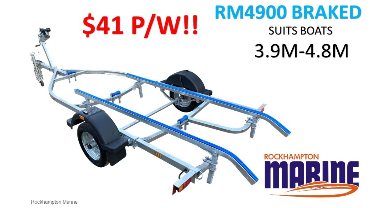 RM BOAT TRAILERS 4900 BRAKED SKID BOAT TRAILER TO SUIT BOATS 3.9M-4.8M!