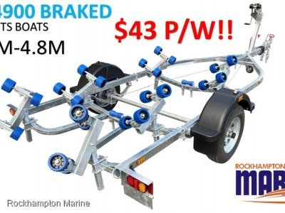 RM BOAT TRAILERS 4900 BRAKED ROLLERED BOAT TRAILER SUITS BOATS 3.9M-4.8M