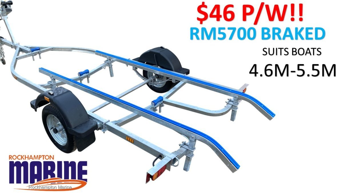 RM BOAT TRAILERS 5700 BRAKED SKID BOAT TRAILER SUITS BOATS 4.6M-5.5M!