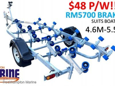 RM BOAT TRAILERS 5700 BRAKED ROLLERED BOAT TRAILER SUITS BOATS 4.6M-5.5M!